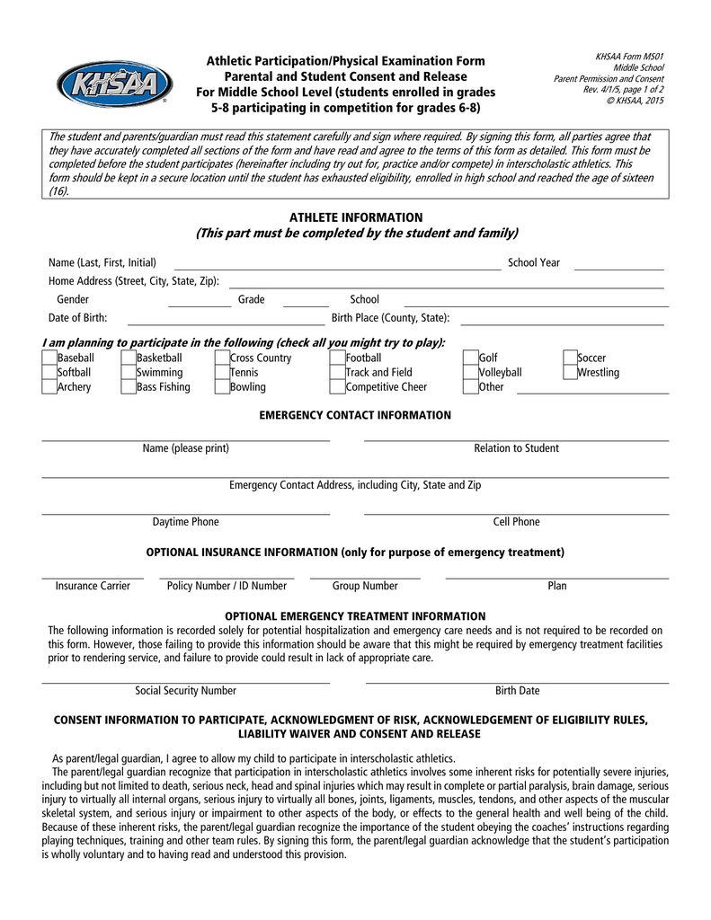 Athletic Participation Physical Examination Form Parental And Student Consent Release