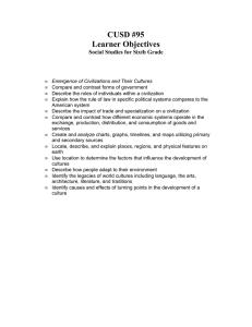 CUSD #95 Learner Objectives Social Studies for Sixth Grade