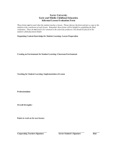 Xavier University Early and Middle Childhood Education Informal Lesson Evaluation Form