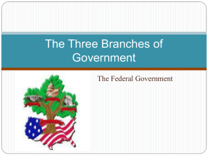 The Three Branches of Government The Federal Government