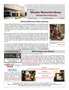 Ellender Memorial Library Nicholls State University Library Welcomes New Librarian