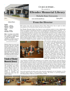 Ellender Memorial Library From the Director Ce qui se passe... Nicholls State University