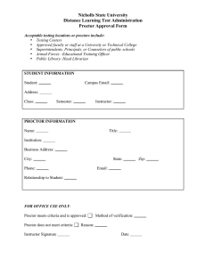 Nicholls State University Distance Learning Test Administration Proctor Approval Form
