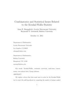 Combinatorics and Statistical Issues Related to the Kruskal-Wallis Statistic