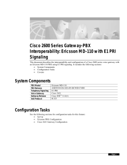 Cisco 2600 Series Gateway-PBX Interoperability: Ericsson MD-110 with E1 PRI Signaling