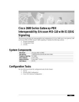 Cisco 2600 Series Gateway-PBX Interoperability: Ericsson MD-110 with E1 QSIG Signaling