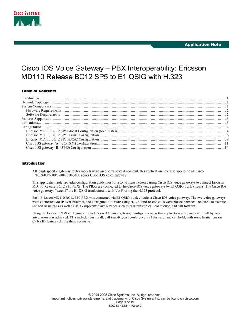 Cisco IOS Voice Gateway – PBX Interoperability: Ericsson Application