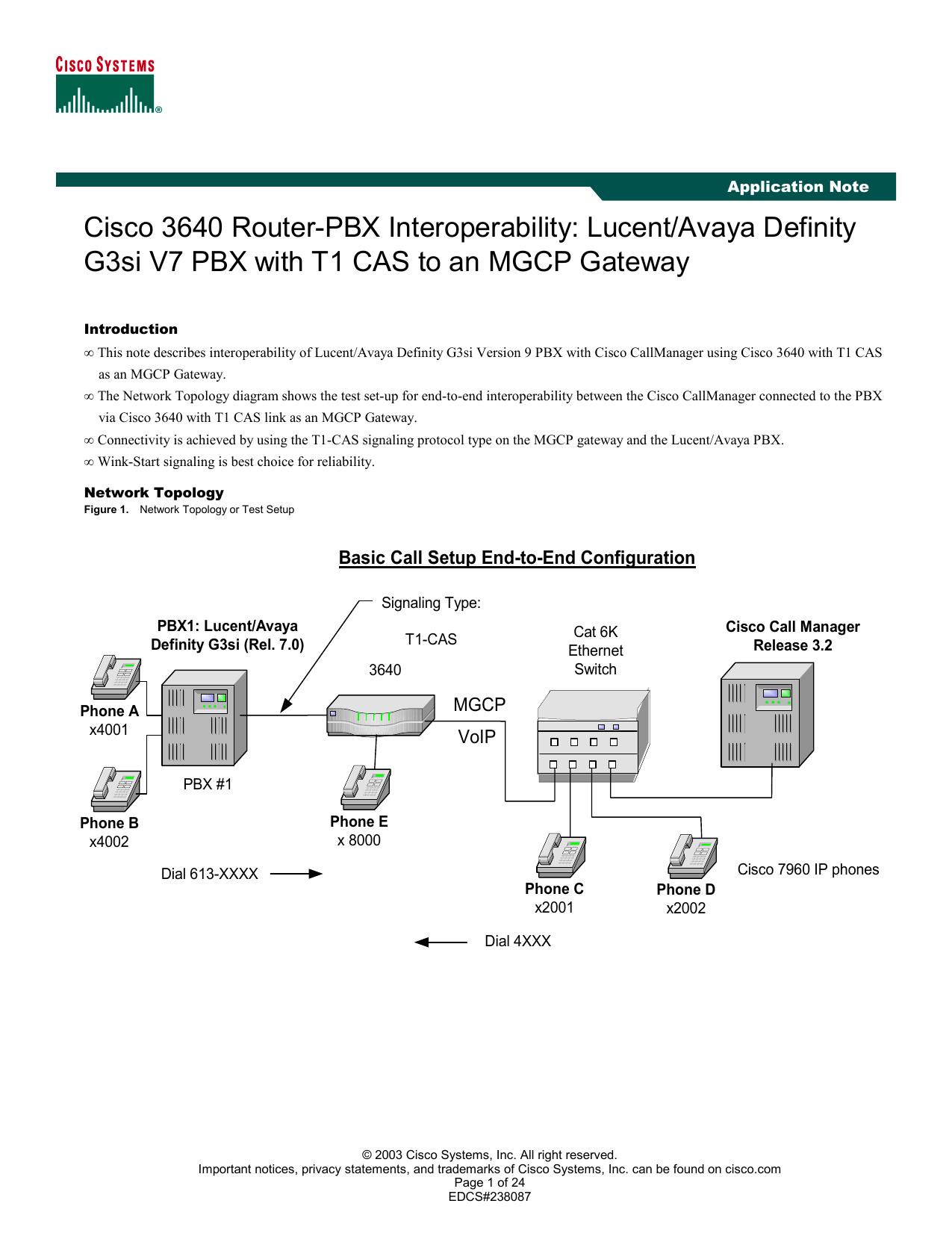 Cisco 3640 Router-PBX Interoperability: Lucent/Avaya Definity