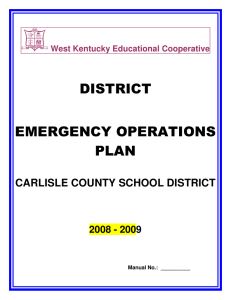 DISTRICT EMERGENCY OPERATIONS PLAN CARLISLE COUNTY SCHOOL DISTRICT