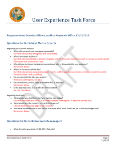 User Experience Task Force