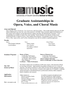 Graduate Assistantships in Opera, Voice, and Choral Music Graduate Programs