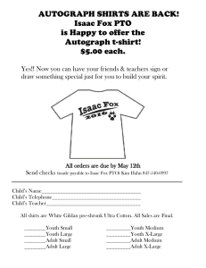 AUTOGRAPH SHIRTS ARE BACK! Isaac Fox PTO is Happy to offer the