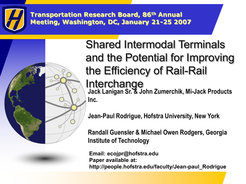 Shared Intermodal Terminals and the Potential for Improving