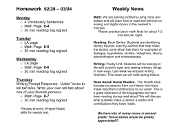 Homework Weekly News – 03/04 02/29