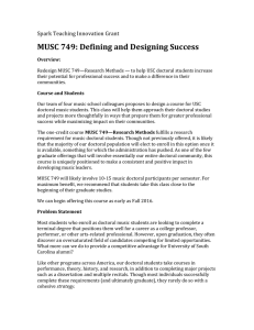 MUSC	749:	Defining	and	Designing	Success Spark	Teaching	Innovation	Grant