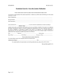 Permission Form for  Over-the-Counter Medication STUDENTS 09.2241 AP.21