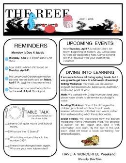 REMINDERS UPCOMING EVENTS DIVING INTO LEARNING