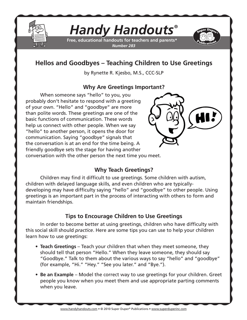 Handy Handouts Hellos And Goodbyes Teaching Children To Use Greetings