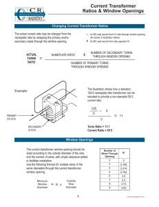 Current Transformer Ratios & Window Openings +
