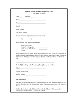 2015 USC Double Reed Day Registration Form November 14, 2015 Oboe_____