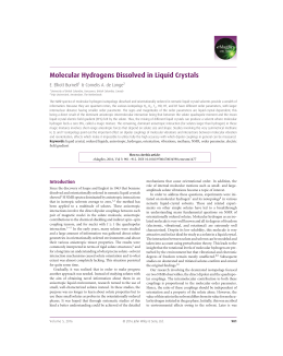 Molecular Hydrogens Dissolved in Liquid Crystals E. Elliott Burnell 1