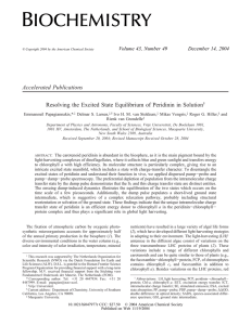 Accelerated Publications Resolving the Excited State Equilibrium of Peridinin in Solution