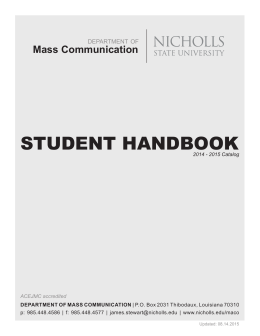 STUDENT HANDBOOK Mass Communication  department