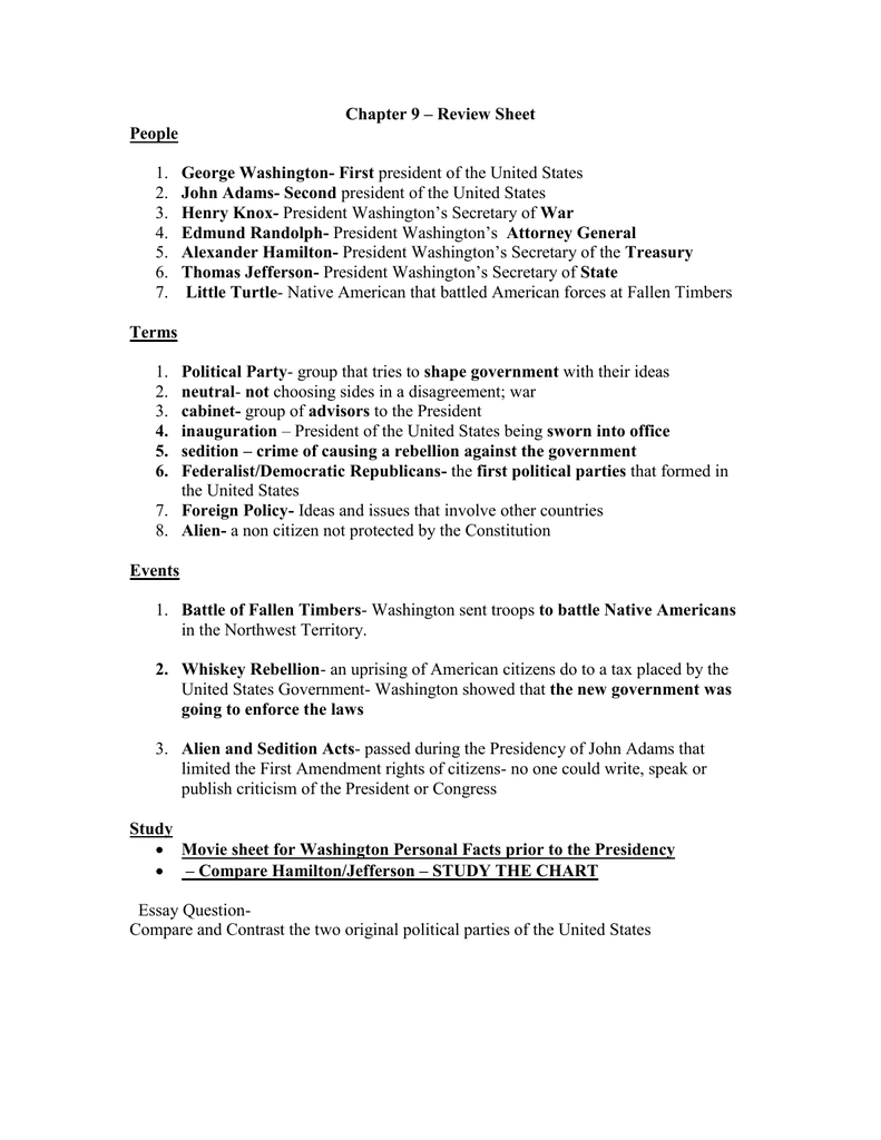 Chapter 9 Review Sheet People George Washington First