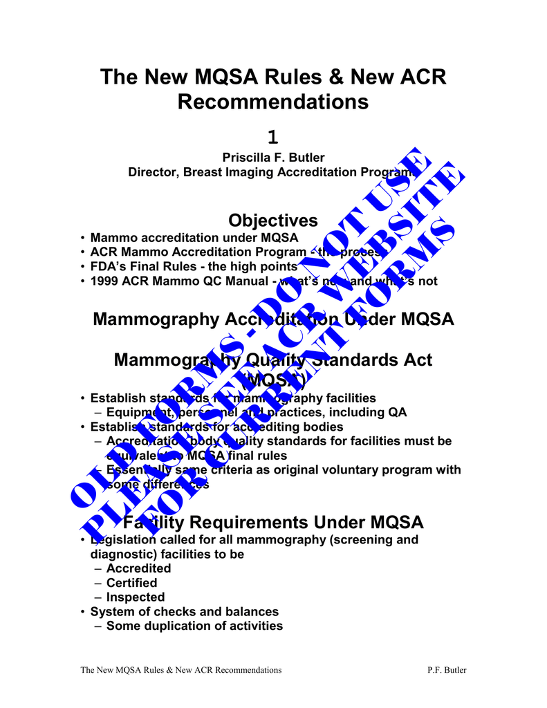 The new mqsa rules new acr recommendations 1 objectives xflitez Gallery