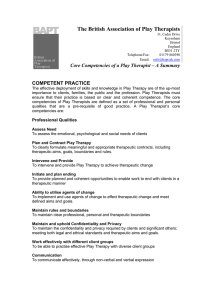 The British Association of Play Therapists COMPETENT PRACTICE