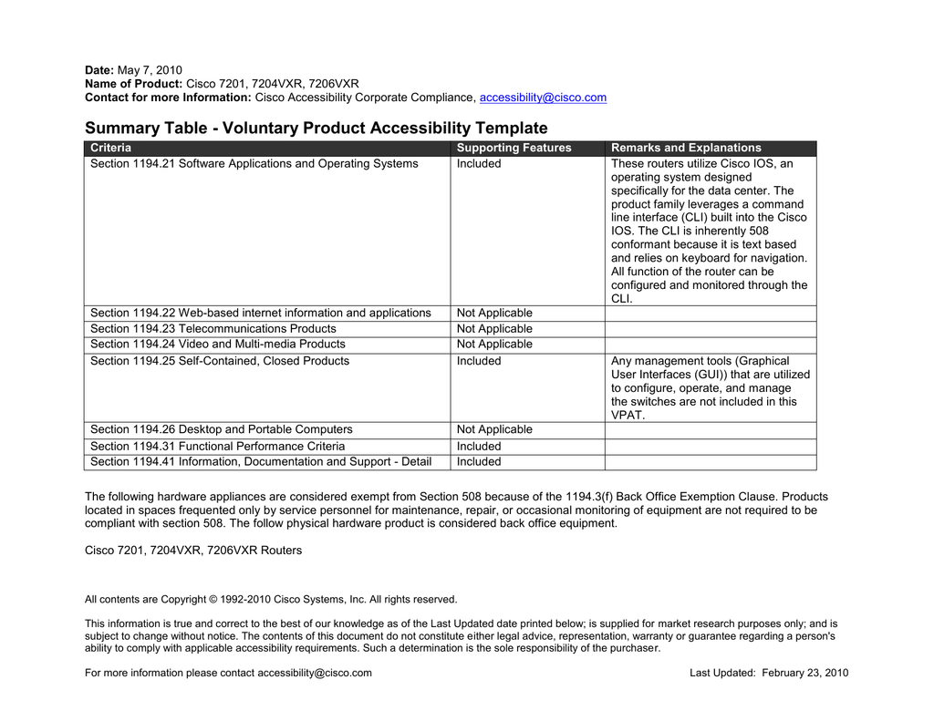 Summary Table - Voluntary Product Accessibility Template