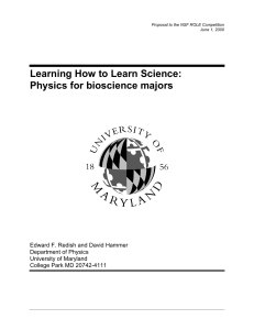 Learning How to Learn Science: Physics for bioscience majors