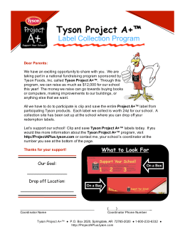 Tyson Project A+™ Label Collection Program