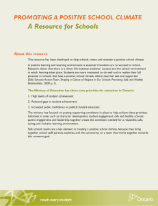 A Resource for Schools PROMOTING A POSITIVE SCHOOL CLIMATE About this resource
