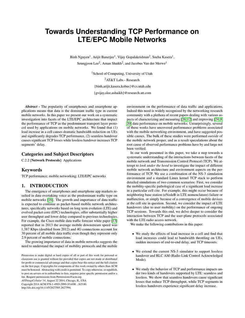 Towards Understanding TCP Performance on LTE/EPC Mobile Networks
