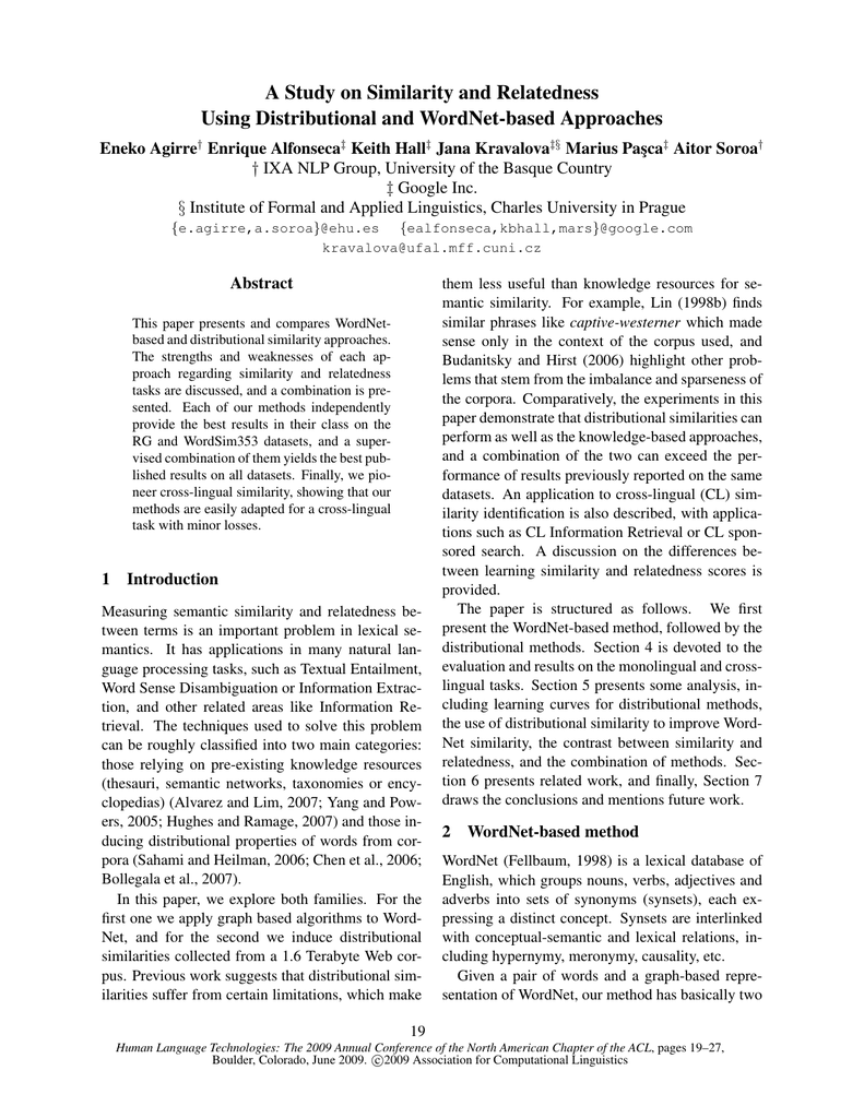 A Study on Similarity and Relatedness Using Distributional and