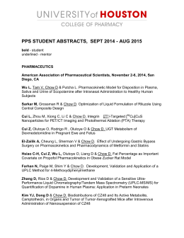 PPS STUDENT ABSTRACTS,  SEPT 2014 - AUG 2015