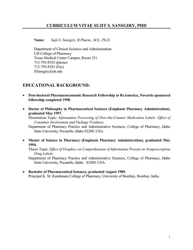 Curriculum Vitae Sujit S Sansgiry Phd