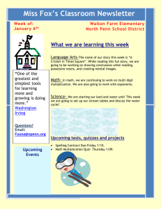 Miss Fox's Classroom Newsletter What we are learning this week Week of: