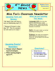4 G Miss Fox's Classroom Newsletter