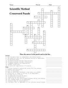 Scientific Method Crossword Puzzle Name ____________________________ Period ___________Date ___________