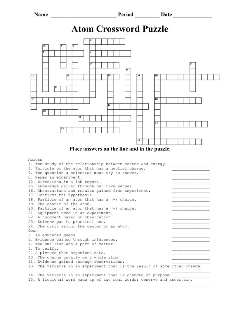 Atom crossword crossword puzzle sc 1 st the biology corner sc 1 st studylib gamestrikefo Choice Image