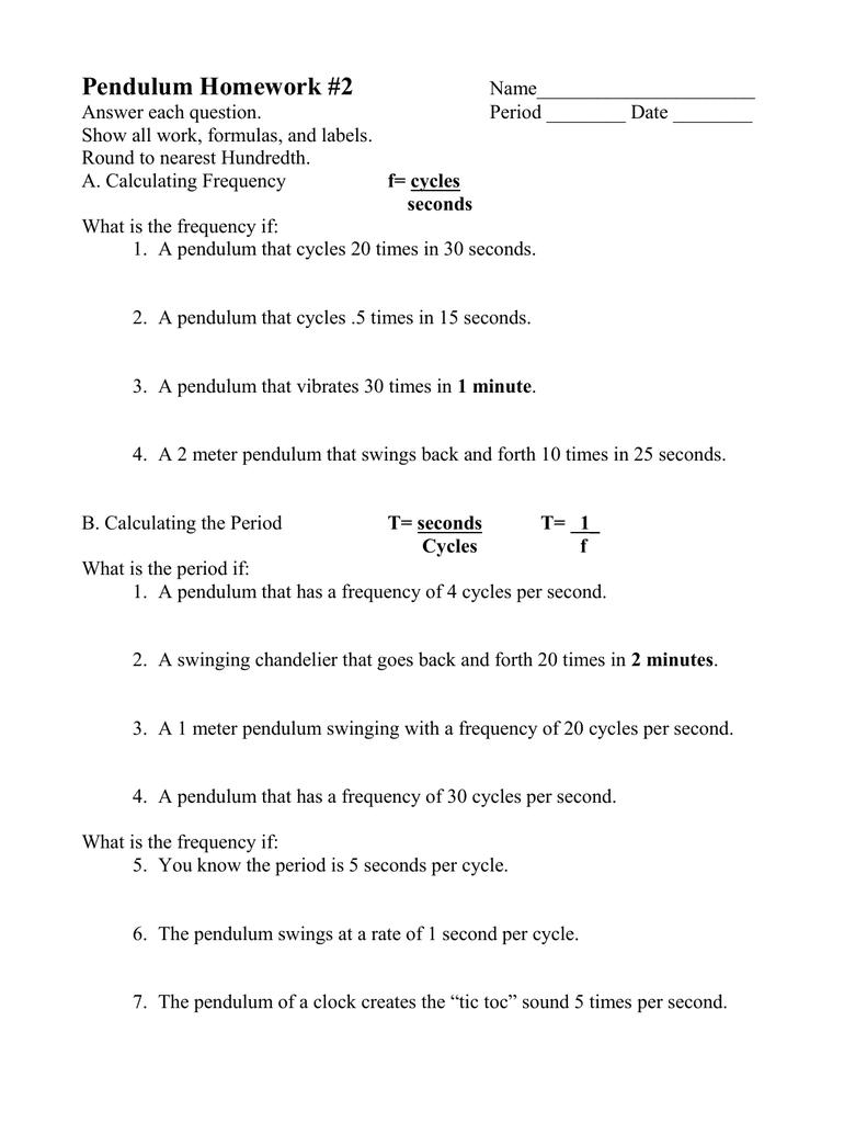 Pendulum Homework 2