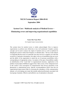 NECSI Technical Report 2004-09-01 September 2004 Eliminating errors and improving organizational capabilities