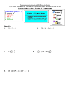 Order of Operations, Ratios & Proportions E