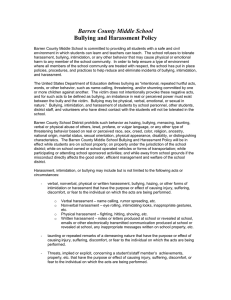 Barren County Middle School Bullying and Harassment Policy