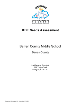 KDE Needs Assessment Barren County Middle School Barren County Lori Downs, Principal