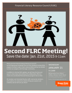 Financial Literacy Resource Council (FLRC) WEDNESDAY