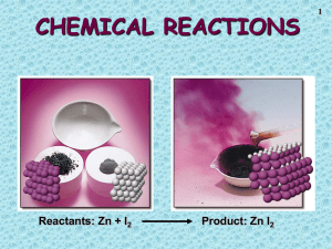 CHEMICAL REACTIONS Reactants: Zn + I Product: Zn I 1