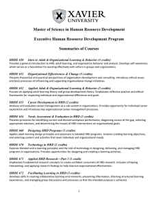 Master of Science in Human Resource Development  Summaries of Courses
